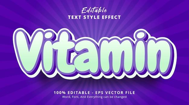 Texto de vitamina em efeito de estilo em camadas multicoloridas, efeito de texto editável