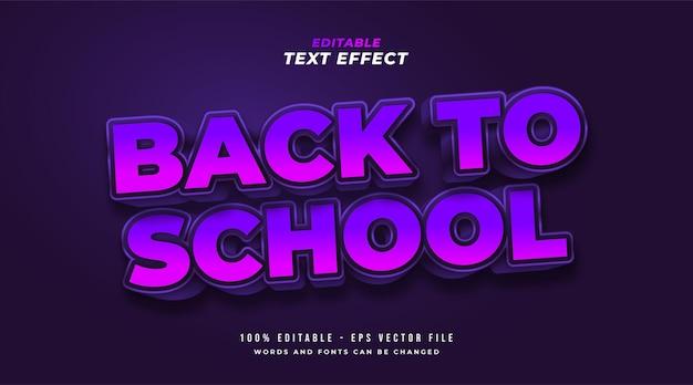 Texto de volta à escola em negrito roxo com efeito em relevo 3d. efeito de estilo de texto editável