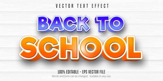 Texto de volta às aulas, efeito de texto editável de estilo cômico