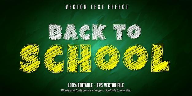 Texto de volta às aulas, efeito de texto editável estilo giz