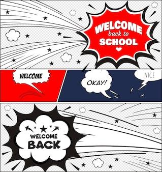 Texto de volta para a escola. no estilo de quadrinhos de colorido