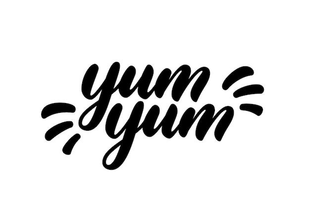 Texto de yum yum. letras de mão desenhada no estilo cartoon. design de logotipo de vetor. projeto de texto caligráfico doodle para impressão.