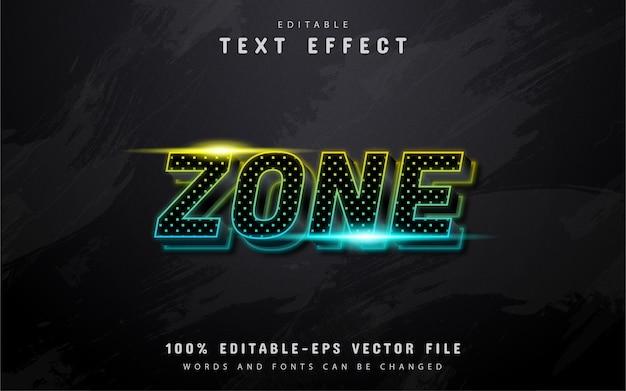 Texto de zona, efeito de texto neon com padrão de pontos