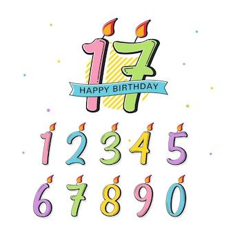 Texto decorativo com número de aniversário colorido