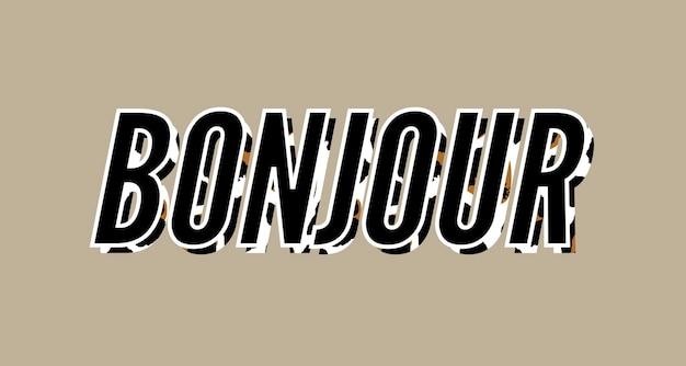Texto decorativo do slogan bonjour hello com fundo de pele de leopardo