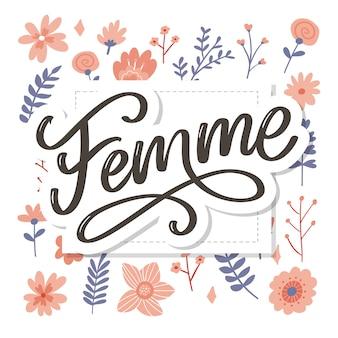 Texto decorativo feminino com letras de caligrafia e flores, slogan, escova