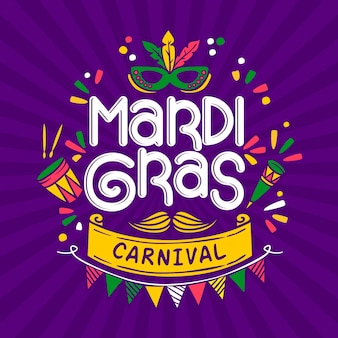 Texto desenhado à mão de carnaval