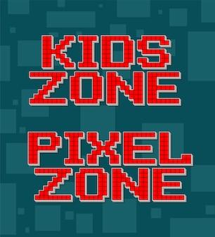 Texto diferente retrô de pixel vermelho para conjunto de jogos de vídeo