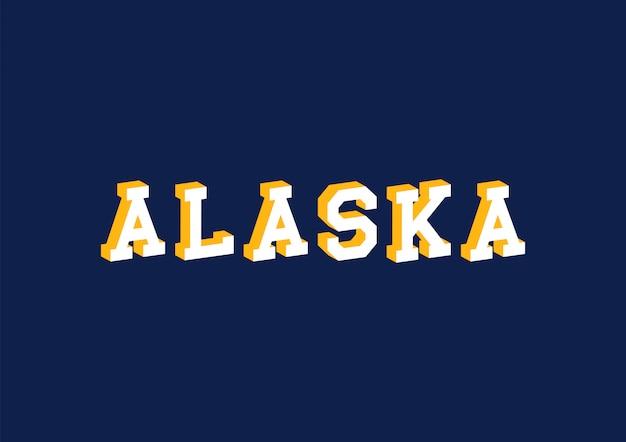 Texto do alasca com efeito isométrico 3d