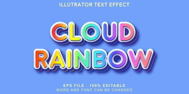 Texto do arco-íris da nuvem editável