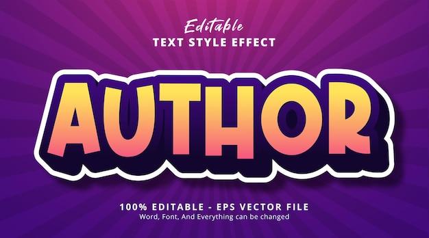 Texto do autor em estilo de combinação de cores extravagantes, efeito de texto editável