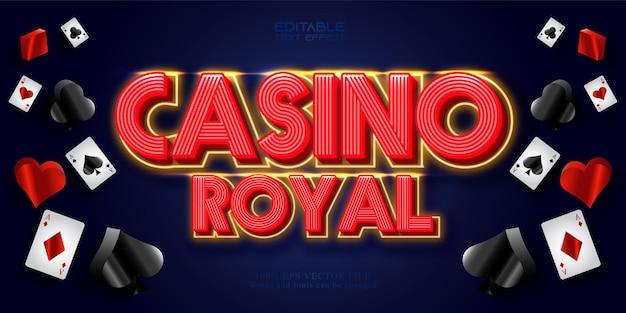 Texto do casino royal, efeito de texto editável em estilo neon