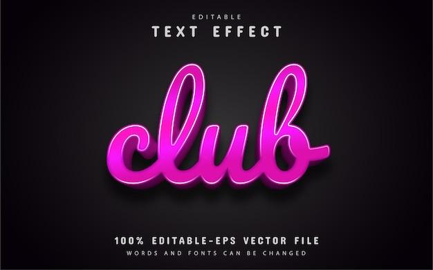 Texto do clube, efeito de texto rosa 3d