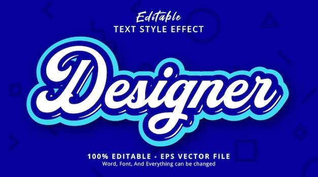 Texto do designer no efeito de estilo de cor azul, efeito de texto editável