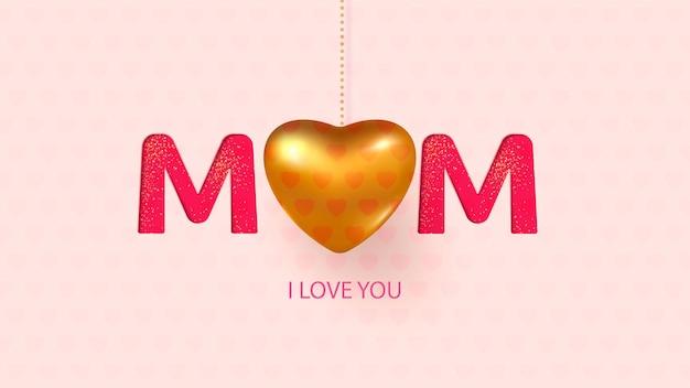 Texto do dia das mães e fundo de coração de ouro