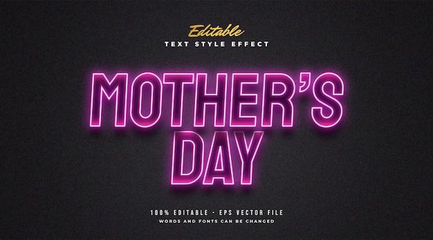 Texto do dia das mães em efeito de néon rosa brilhante. efeito de estilo de texto editável
