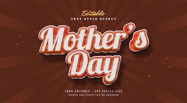Texto do dia das mães em estilo vintage com efeito em relevo. efeito de estilo de texto editável