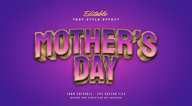 Texto do dia das mães em gradiente colorido com efeito em relevo e curvado. efeito de estilo de texto editável