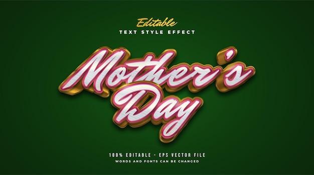 Texto do dia das mães em vermelho e dourado com estilo vintage e efeito em relevo. efeito de estilo de texto editável