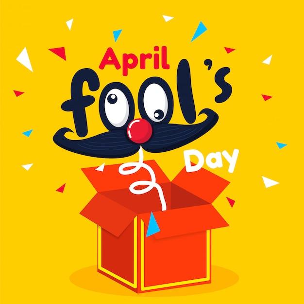 Texto do dia de tolo de abril e caixa vermelha engraçada