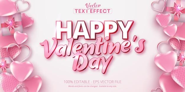 Texto do dia dos namorados, efeito de texto editável de estilo caligráfico