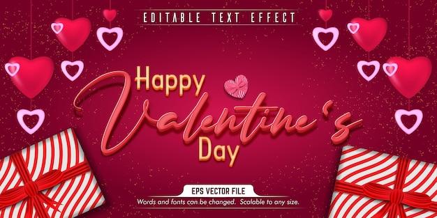 Texto do dia dos namorados, efeito de texto editável do estilo amoroso