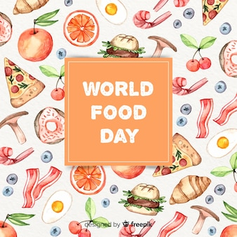 Texto do dia mundial da comida na caixa com alimentos