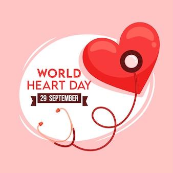 Texto do dia mundial do coração com exame de coração do estetoscópio sobre fundo branco e rosa.