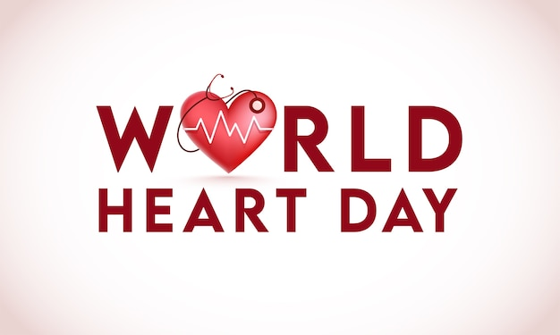 Texto do dia mundial do coração com verificação de batimento cardíaco brilhante por estetoscópio sobre fundo branco.