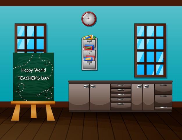 Texto do dia mundial do professor no quadro-negro da sala de aula