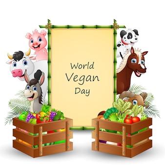 Texto do dia mundial vegano em cartaz com vegetais e animais de fazenda