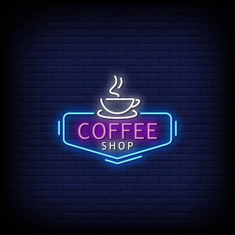 Texto do estilo das placas de néon do logotipo da cafeteria