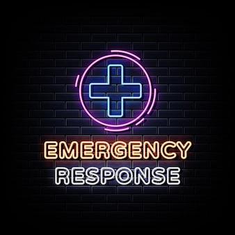 Texto do estilo de sinais de néon de resposta a emergências
