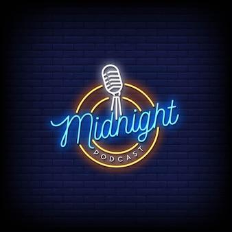 Texto do estilo do logotipo do podcast da meia-noite sinais de néon