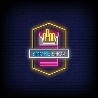 Texto do estilo dos letreiros de néon da loja de fumo