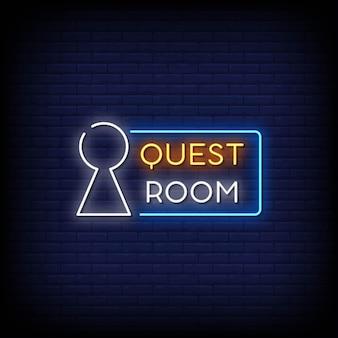 Texto do estilo dos letreiros de néon do quest room logo