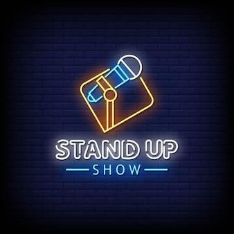 Texto do estilo dos letreiros de néon do stand up