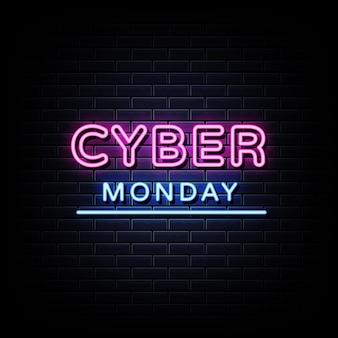 Texto do estilo dos sinais de néon da cyber monday