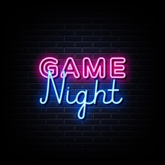 Texto do estilo dos sinais de néon da noite do jogo em um fundo de parede preto
