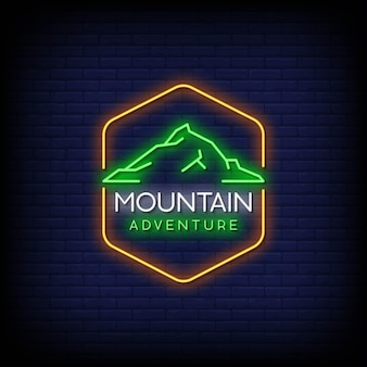 Texto do estilo dos sinais de néon do logotipo da aventura na montanha