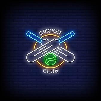 Texto do estilo dos sinais de néon do logotipo do clube de críquete