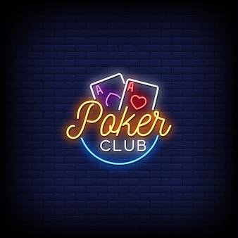 Texto do estilo dos sinais de néon do logotipo do clube de pôquer