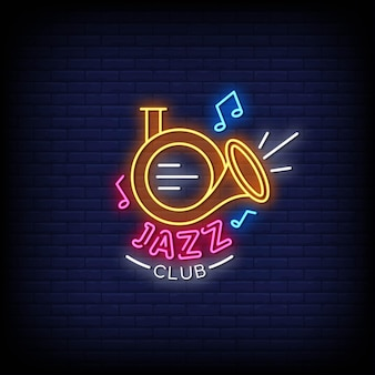 Texto do estilo dos sinais de néon do logotipo do jazz club