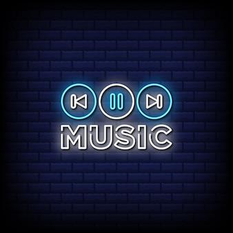 Texto do estilo dos sinais de néon do music player