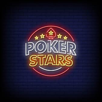 Texto do estilo dos sinais de néon do poker stars