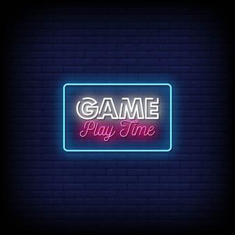 Texto do estilo dos sinais de néon do tempo de jogo
