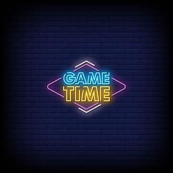 Texto do estilo dos sinais de néon para o tempo
