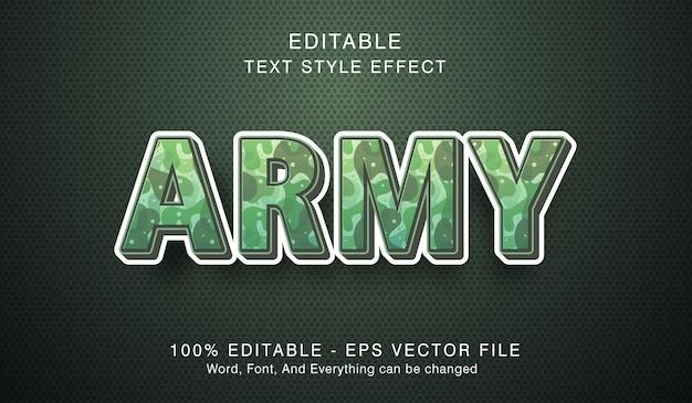 Texto do exército em efeito de estilo moderno, efeito de texto editável