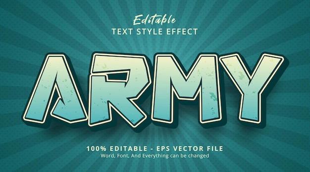 Texto do exército em efeito de quadrinhos chiques, efeito de texto editável