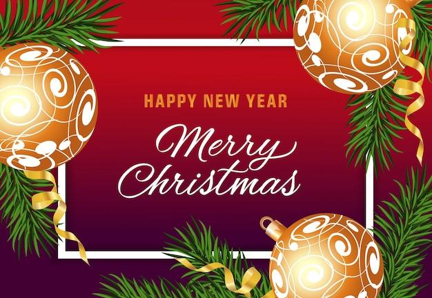 Texto do feliz ano novo com ornamentos